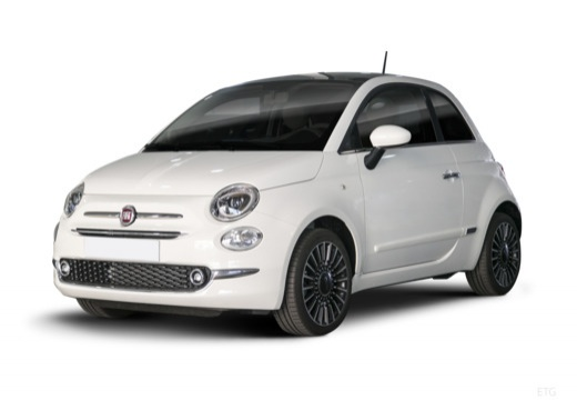 Photo de l'avant gauche d'une Fiat 500 1.2i 69 Euro 6D Dualogic Collezione Fall (3p.)
